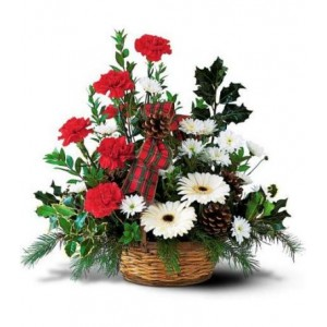 Carnation and Gerbera Basket Arrangement