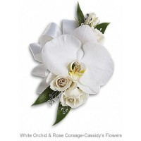 White Orchid & Rose Corsage