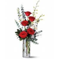 Red Roses and White Orchids Bouquet