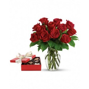 One Dozen Red Roses and Chocolates