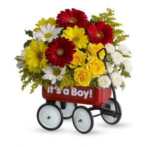 Baby Boy Wow Wagon Bouquet